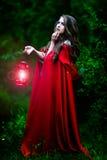 有红色斗篷的美丽的妇女在森林 免版税库存照片