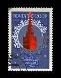 有红色星的克里姆林宫新年,大约1978年, 免版税库存图片