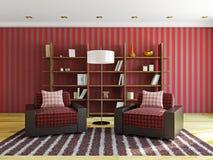 有红色枕头的扶手椅子 免版税图库摄影