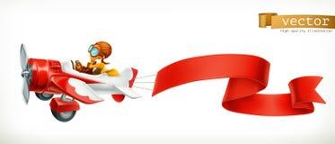 有红色横幅的, 3d传染媒介动画片滑稽的飞机 免版税库存照片