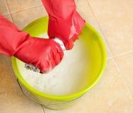 有红色橡胶手套和桶的手 免版税库存图片