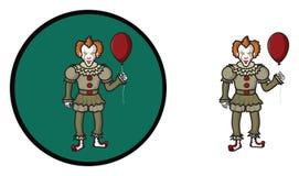 有红色气球万圣夜象的可怕小丑 免版税库存图片