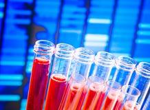 有红色液体的试管在抽象脱氧核糖核酸程序化背景 免版税图库摄影