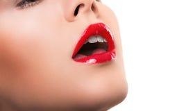 有红色湿嘴唇的妇女 免版税库存照片