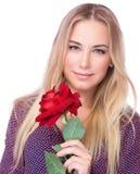 有红色玫瑰的华美的女性 库存图片
