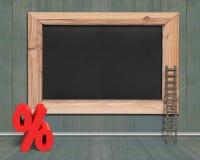 有红色百分率符号木头梯子的空白的黑板 免版税库存图片