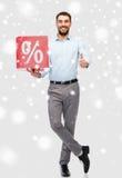 有红色的微笑的人百分率符号雪 免版税库存图片