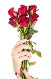 有红色的性感的妇女手钉牢一束玫瑰 免版税库存图片