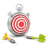 有红色目标和箭箭头的秒表 Affärsstrategi. Fokusen är endast på ordaffärsstrategin, i red. Andra ord är oskarpa 免版税库存照片