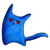 有红色眼睛的蓝色妖怪和尾巴画铅笔 库存照片