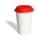 有红色硅树脂盒盖的热杯子 免版税库存照片