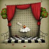 有红色窗帘和小的门的墙壁 免版税库存图片