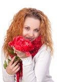 有红色花的妇女 库存图片