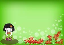 有红色花的逗人喜爱的女孩在绿色背景 库存照片