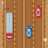 有红色蓝色汽车和减速火箭货物的卡车的路- 免版税库存照片