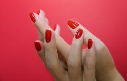 有红色被隔绝的修指甲和钉子的美好的女性手 免版税图库摄影