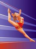 有红色跳跃绳索的女孩体操运动员 免版税图库摄影
