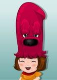 有红色选择帽子的,例证小女孩 免版税库存图片