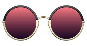 有红色透镜和金金属框架的太阳镜 免版税库存图片