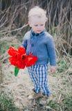 有红色郁金香的小男孩 免版税库存图片