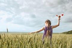 有红色郁金香花的摆在麦田的,明亮的太阳,美好的夏天风景女孩 库存照片