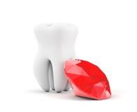 有红色金刚石的牙 免版税库存图片