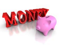 有红色金钱词的贪心硬币银行 到达天空的企业概念金黄回归键所有权 免版税库存图片