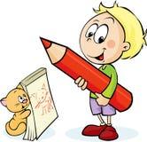 有红色铅笔图猫的男孩 免版税库存照片
