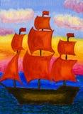 有红色风帆的船,绘 库存图片