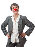 有红色鼻子的夫人 库存照片