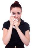 有红色头发的哭泣的妇女 图库摄影