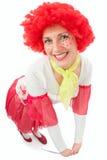 有红色头发的妇女小丑 免版税库存图片