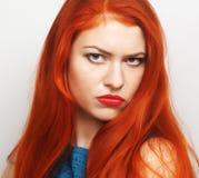 有红色头发的少妇 库存照片