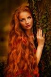 有红色头发的美丽的女孩在秋天公园 免版税图库摄影
