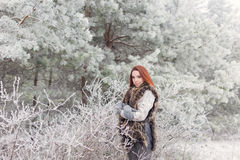 有红色头发的美丽的柔和的女孩在站立在有iniem的一个多雪的森林里的毛皮背心在树分支  库存图片