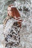 有红色头发的美丽的柔和的女孩在站立在有iniem的一个多雪的森林里的毛皮背心在树分支  免版税图库摄影