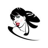 有红色嘴唇和长的头发的妇女 免版税库存图片