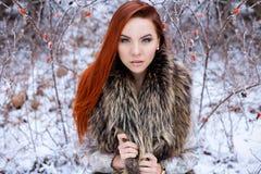 有红色头发的美丽的逗人喜爱的性感的女孩走在树中的一个多雪的森林里的错过了与红色yago的第一三个月灌木 免版税库存图片