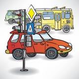 画有红绿灯、公共汽车和汽车的一个交叉点 免版税库存图片