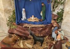 有约瑟夫玛丽和小耶稣的圣诞节托婴所 库存图片