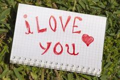 有纪录的笔记本我爱你 图库摄影