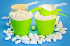 有纯净的乳清蛋白、肌酸、镁片剂和豌豆蛋白质的四个瓢 免版税库存图片