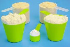 有纯净的乳清蛋白、肌酸和豌豆蛋白质的瓢 免版税库存照片