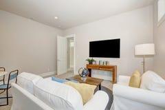 有纯净的白色沙发的好的家庭娱乐室 免版税图库摄影