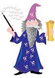 有纸卷的巫术师 免版税库存照片