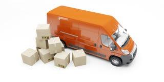 有纸板箱易碎的标志的红色送货车 3d例证 包裹交付概念 皇族释放例证