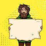 有纸标志流行艺术样式传染媒介例证的无家可归的人 漫画书样式模仿 减速火箭的葡萄酒