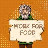 有纸标志流行艺术样式传染媒介例证的无家可归的人 漫画书样式模仿 食物的工作 向量例证