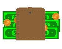 有纸现金和硬币的布朗钱包 皇族释放例证