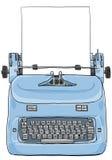 有纸艺术绘画的电葡萄酒打字机 免版税库存图片